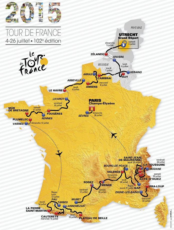 le tour de france 2015 map